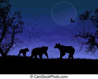 Wild bears silhouette on beautiful blue landscape vector...