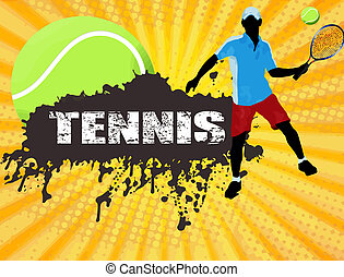 Tennis poster - Grunge tennis poster with player and ball,...