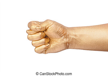 The man's golden hand show a sign fico. Isolated on white