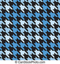 Plaid Houndstooth_Blue - Vector seamless plaid houndstooth...