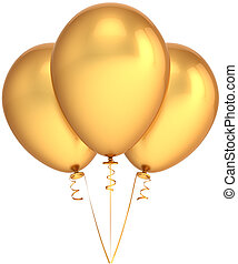 Party balloons total golden - Three party balloons total...