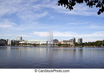 Fountain at Alster lake in Hamburg - Fountain at Alster...