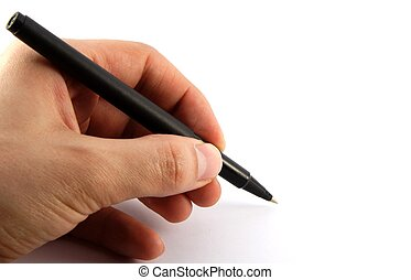 Pen in a hand - Black pen in a left hand on white background