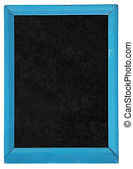 Old blackboard with blue wooden frame isolated on white.