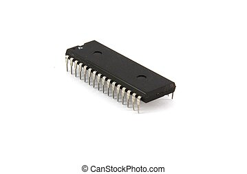 Integrated microcircuit on white background
