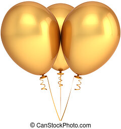 Golden party balloons - Three party balloons colored golden...