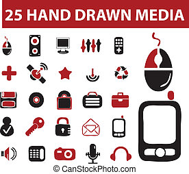 25 hand drawn signs, vector