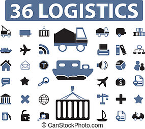 logistics signs - 36 logistics top signs, vector