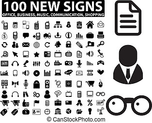100 new office, business, media signs, vector