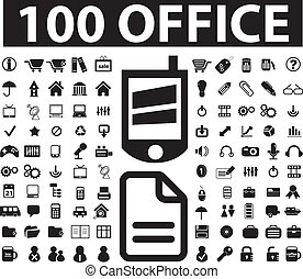 100 black office signs, vector