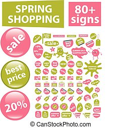 80   spring shopping signs, vector