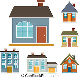 4 family houses - 4 family cute houses, vector