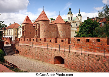Barbican - Fortified medieval outpost - Warsaw Poland -...