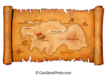 Pirate's treasure map with locations, isolated on a white...