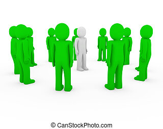 3d human group circle green
