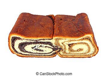 Two variants of nut roll - Homemade yeast bred filled with...