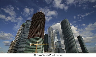 Moscow City complex under construction. timelapes full hd...