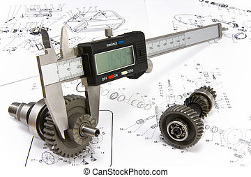 The electronic exact calliper is ready to measurement