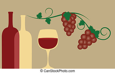 Red wine with grapes