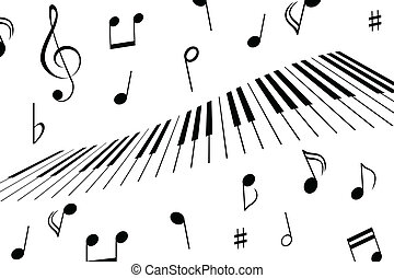 Music notes and piano keys - Music notes around the piano...