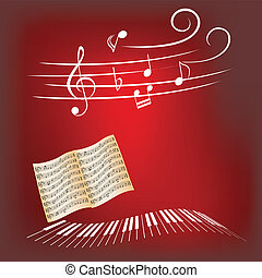 Piano music - Piano keys, sheet music and music notes