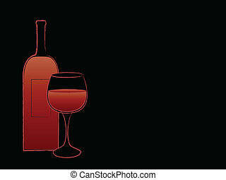 Red wine bottle and goblet with text space