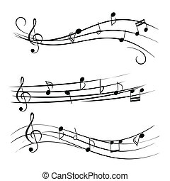 Music Notes - Music notes on staves
