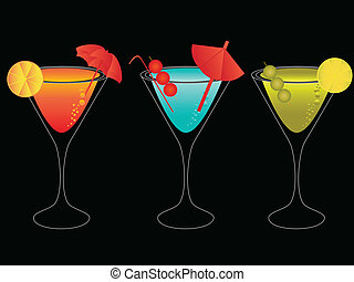 Colorful martinis with umbrellas - Colorful martini mixes...