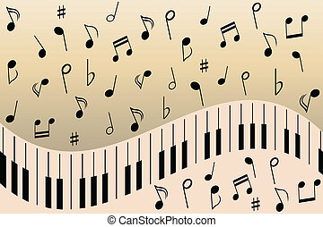 Piano music notes - Various music notes on piano