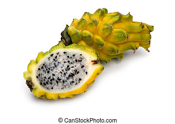 Yellow Pitahaya close up - object on white - Yellow Pitahaya...