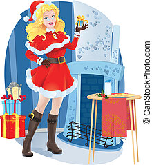 Beautiful Santa girl - vector illustration of a beautiful...