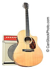 Acoustic Guitar and Amp Abstract - Acoustic guitar with an...