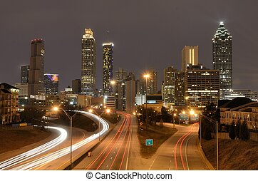 Atlanta Skyline - The skyline of Atlanta, Georgia above...