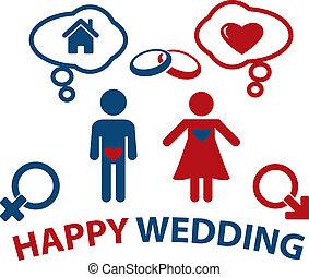 wedding concept - happy wedding smart concept, vector