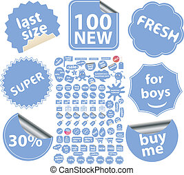 100 blue stickers - 100 blue shop stickers, vector