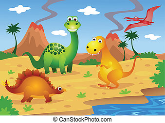 dinosaurs - vector illustration of cute dinosaurs