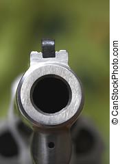 Gun Barrel - Gun barrel close up,Magnum .357 revolver