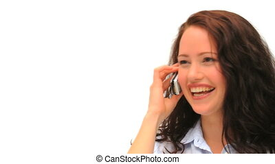 Woman phoning against a white background
