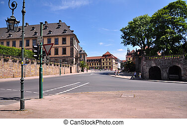 Germany Fulda - The view of the baroque building from a road...