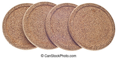 Set of Bamboo Coasters Isolated on White with a Clipping...