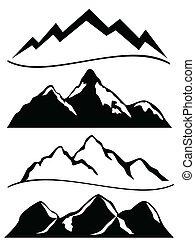 Various mountains in black and white