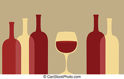 Wine glass and bottles - Wine glass with empty and full...