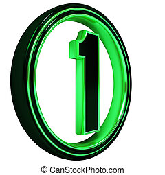 "Green metal Font Letter ""one"" on White - 3D Letter ""one"" in..."