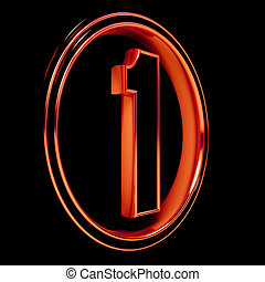 """Red metal Font Letter """"one"""" on black - 3D Letter """"one"""" in..."""