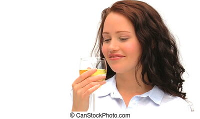 Good looking lady enjoying a glass of wine isolated on a...