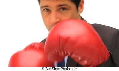 Man boxing the camera