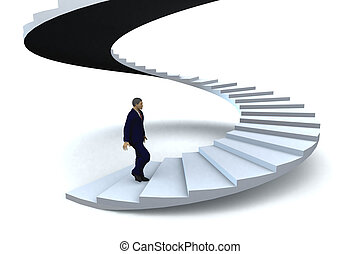 Stairway to success - A businessman walking upstairs the...
