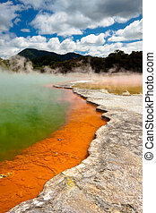 Colorful World - Wai-O-Tapu Wonderland. Geothermal area at...
