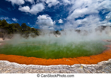 Wonderland - Wai-O-Tapu Wonderland. Geothermal area at...