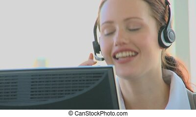Business woman in a call center